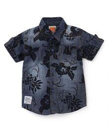 Little Kangaroos Half Sleeves Denim Shirt Flower Print - Dark Blue