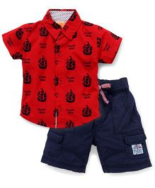 Little Kangaroos Half Sleeves Shirt And Shorts Pirate Ship Print - Red Navy