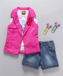 Little Kangaroos Sleeveless Top And Shorts With Jacket Floral Appliques - Pink Blue