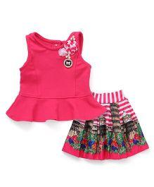 Little Kangaroos Party Wear Sleeveless Top And Skirt Flower Applique - Pink