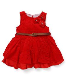 Little Kangaroos Sleeveless Frock With Belt Floral Applique - Red