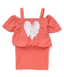 Little Kangaroos Singlet Party Wear Dress With Heart Design - Peach
