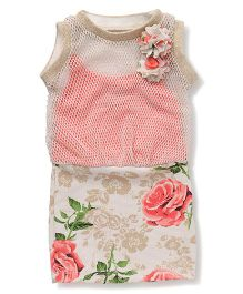 Little Kangaroos Sleeveless Netted Frock Floral Print - Cream & Coral