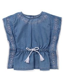 Little Kangaroos Sleeveless Denim Tee Floral Embroidery - Light Blue