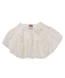 Little Kangaroos Lace Poncho Top With Singlet Inner - Cream
