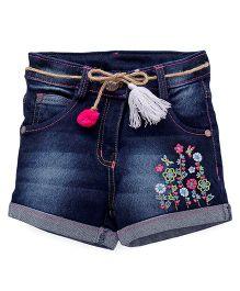 Little Kangaroos Denim Shorts Floral Embroidery - Dark Blue