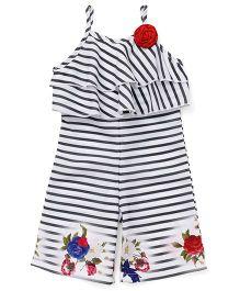 Little Kangaroos Singlet Stripe Jumpsuit Flower Applique - Black White