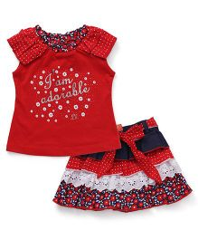 Little Kangaroos Short Sleeves Top And Layered Skirt With Fabric Belt Floral Print - Red