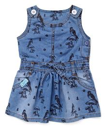 Little Kangaroos Sleeveless Denim Frock Bird Print - Light Blue