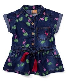 Little Kangaroos Short Sleeves Denim Frock Crane Print - Dark Blue