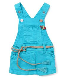 Little Kangaroos Dungaree Style Frock Strawberry Motif - Aqua Blue