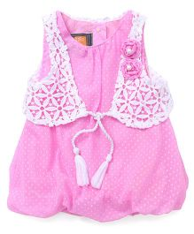 Little Kangaroos Sleeveless Dotted Frock With Shrug Floral Appliques - Pink White