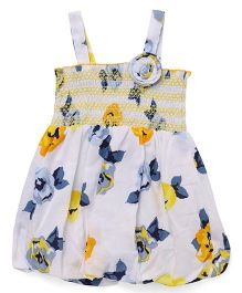 Little Kangaroos Singlet Floral Print Dress - Yellow White