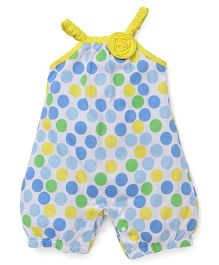 Little Kangaroos Singlet Jumpsuit Polka Dots Print - Yellow Blue