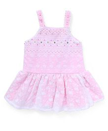 Little Kangaroos Sleeveless Frock Floral Embroidery - Pink
