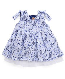 Little Kangaroos Sleeveless Frock Bow Appliques - White Blue