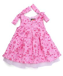 Little Kangaroos Sleeveless Frock Bow Appliques - Pink