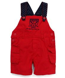 Little Kangaroos Dungaree Style Romper Sailing Team Print - Red Navy