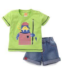 Little Kangaroos Half Sleeves T-Shirt And Denim Shorts Printed - Green Blue