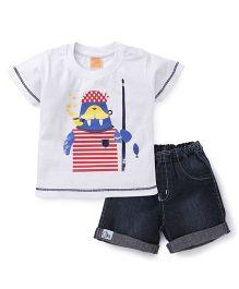 Little Kangaroos Half Sleeves T-Shirt And Denim Shorts Printed - White Blue