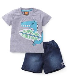 Little Kangaroos Half Sleeves T-Shirt And Shorts Printed - Grey Blue