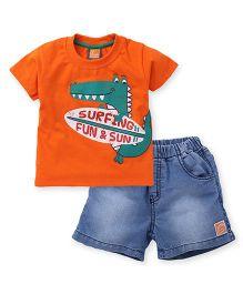 Little Kangaroos Half Sleeves T-Shirt And Denim Shorts Printed - Orange Blue