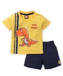 Little Kangaroos Half Sleeves T-Shirt And Shorts Printed - Yellow Navy