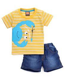 Little Kangaroos Half Sleeves Stripe T-Shirt And Denim Shorts Crab Print - Yellow Dark Blue