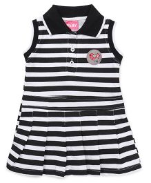 Little Kangaroos Sleeveless Frock Stripes Print - Black White