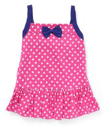 Little Kangaroos Singlet Frock Bow Applique - Pink