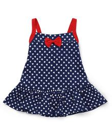 Little Kangaroos Singlet Neck Frock Hearts Print - Blue
