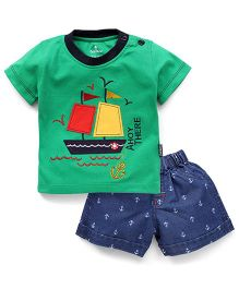 Child World Half Sleeves T-Shirt And Shorts Set Boat Patch - Green Blue