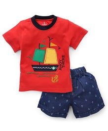 Child World Half Sleeves T-Shirt And Shorts Set Boat Patch - Red Blue