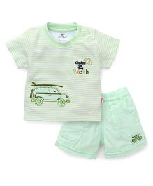 Child World Half Sleeves T-Shirt And Shorts Set Car Patch - Green