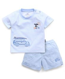 Child World Half Sleeves T-Shirt And Shorts Set Car Patch - Sky Blue