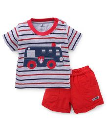 Child World Half Sleeves T-Shirt And Shorts Set Fire Engine Patch - Red Blue