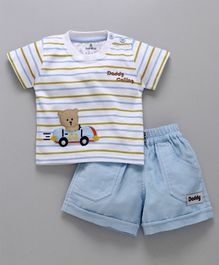 Child World Teddy Patch Half Sleeves T-shirt And Shorts - Sky Blue