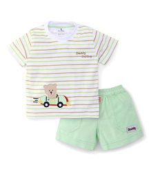 Child World Teddy Patch Half Sleeves T-shirt And Shorts - Light Green