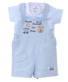 Child World Dungarees With T-shirt Bear Patch - Sky Blue