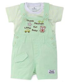 Child World Dungarees With T-shirt Bear Patch - Light Green