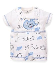 Child World Dungaree With T-Shirt Elephant Print - White Sky Blue