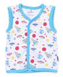Child World Sleeveless Vest Space Craft Print - Blue White