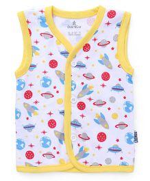 Child World Sleeveless Vest Space Craft Print - Yellow White