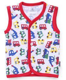 Child World Sleeveless Vest Vehicles Print - Red White