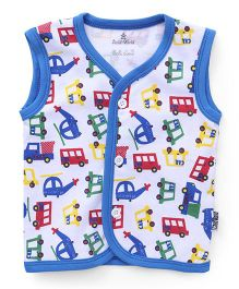 Child World Sleeveless Vest Vehicles Print - Blue White