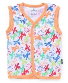 Child World Sleeveless Vest Planes Print - Peach Multi Color