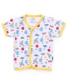 Child World Half Sleeves Vest Space Craft Print - Yellow White