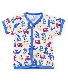 Child World Half Sleeves Vest Vehicles Print - Blue White