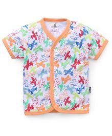Child World Half Sleeves Vest Planes Print - Peach Multi Color