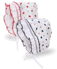 BABYHUG printed tie knot bonnet cap pack of 2  0-3 MONTH cherry print